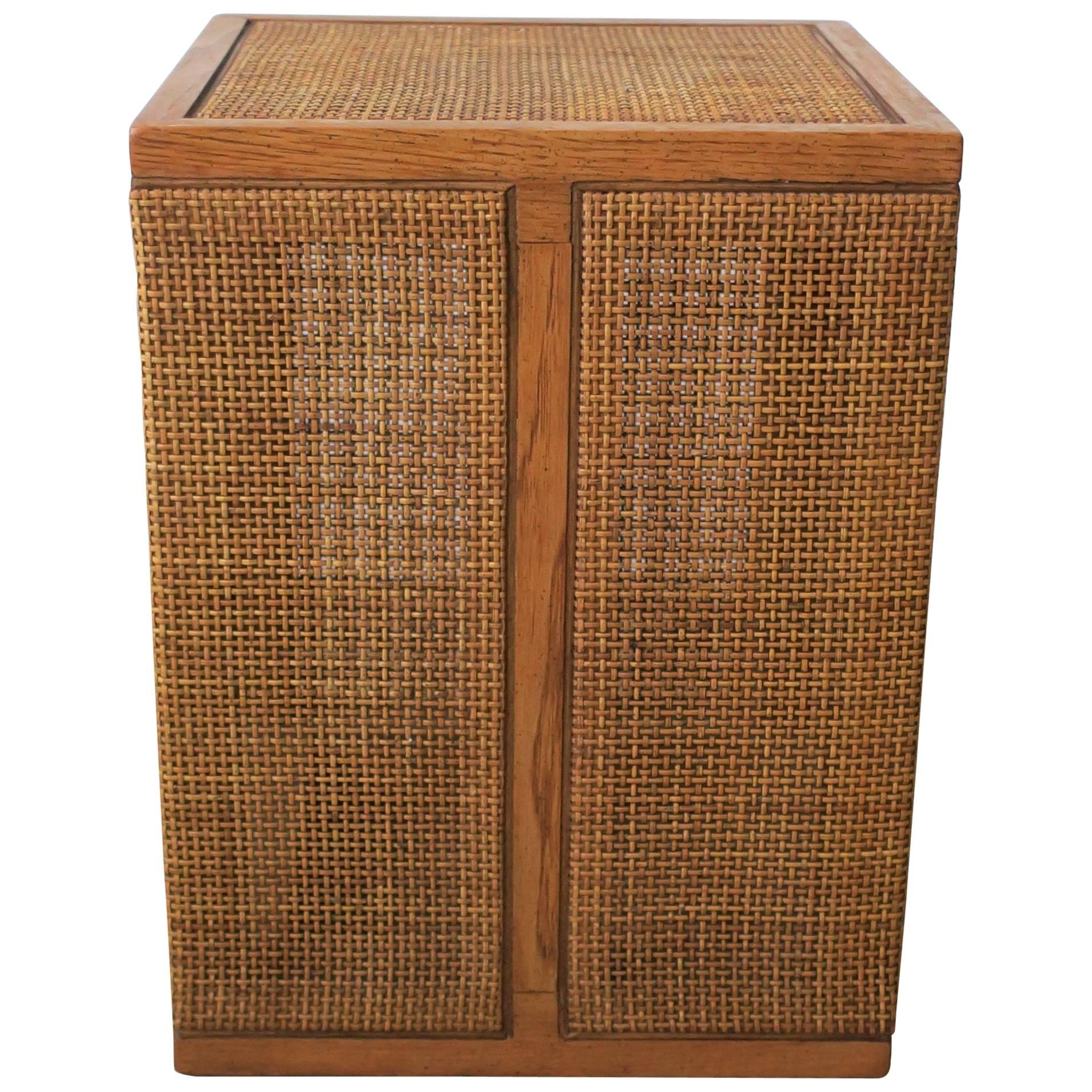 Small Vintage Square Wicker Rattan Side Or End Table, 1970s