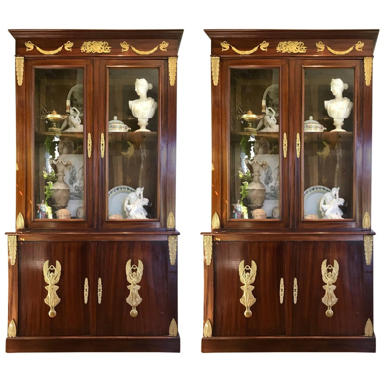 Pair of Empire Bookcases For Sale