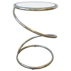 Modern Round Chrome Twist Side Table, ca. 1970s