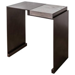 'Roque' contemporary side table in black patinated steel and solid oak