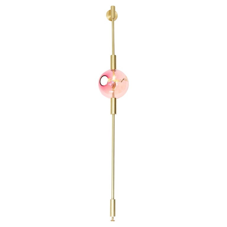 Pink Lean Light-Modern Handmade Glass with Gold Leaf, Brass Wall and Floor Light 1