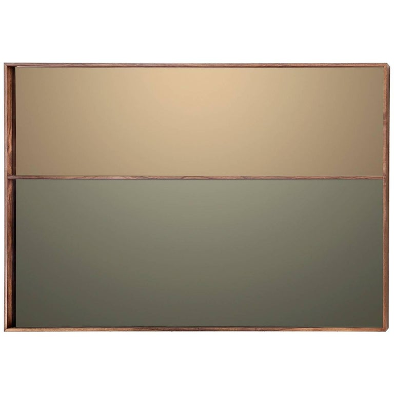 Horizon Mirror Contemporary Bronze and Grey Mirror with a Walnut Frame