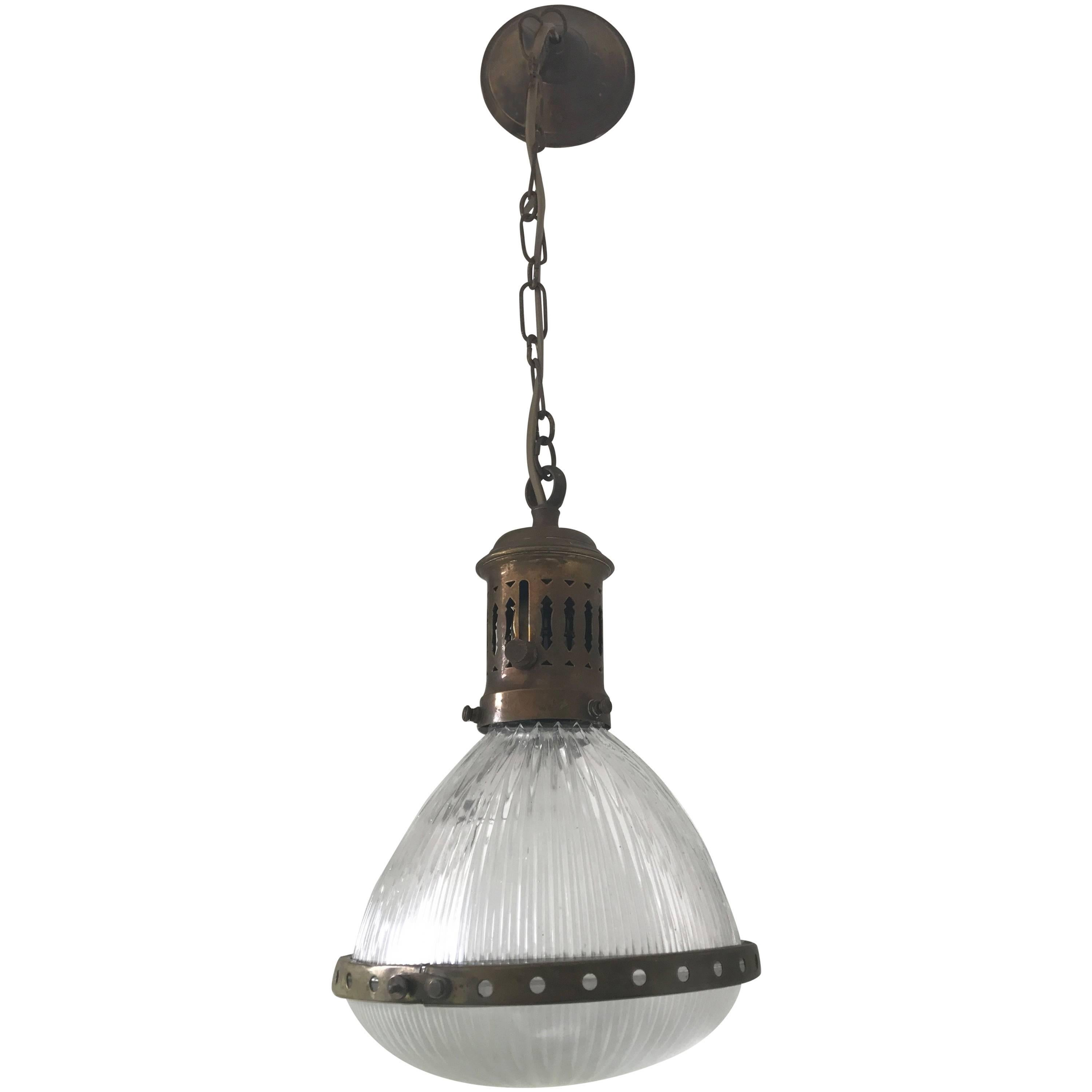 Small French Art Deco Holophane Glass and Brass Pendant Light Ceiling L&  sc 1 st  1stDibs & Holophane Lighting - 46 For Sale at 1stdibs azcodes.com