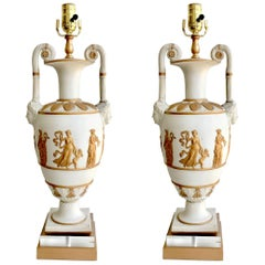 Pair of Neoclassic Continental White & Gilt Basalt Vases/ Lamps Possibly Danish