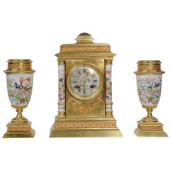 Porcelain and Ormolu Classical Clock Set, English Country Garden