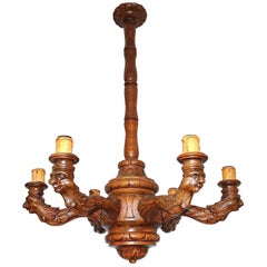Antique and Large Top Quality Carved Oak Six-Light Sculpture Chandelier Pendant