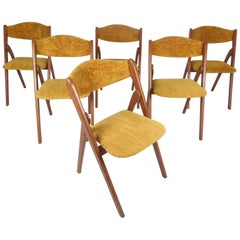 Set of Six Mid-Century Modern Teak Collapsible Dining Chairs