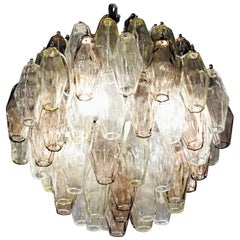 Mid-Size House Poliedri Chandelier, Light Color Nuances of Glass, Murano Made