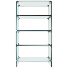 Pace Collection Glass and Chrome Étagère or Display Cabinet
