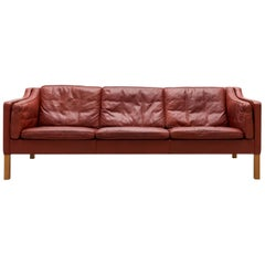 Børge Mogensen Three-Seat Sofa, Model 2213 in Cognac Leather, Denmark, 1962