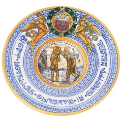 Galileo Chini St. John the Baptist 1910s Decorative Ceramic Dish