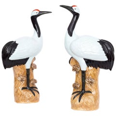 Massive Pair of Chinese Republican Porcelain Glazed Cranes