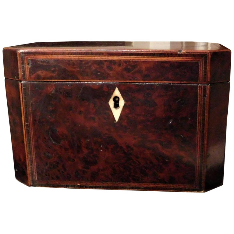 George III Burl Walnut Inlaid Tea Caddy