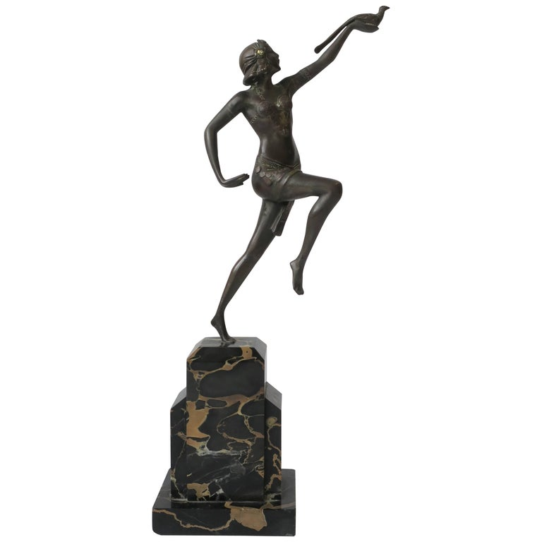 French Art Deco Bronze Sculpture on Black Marble Base