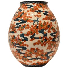 Large Japanese Contemporary Imari Porcelain Vase by Sho-un, Master Artist