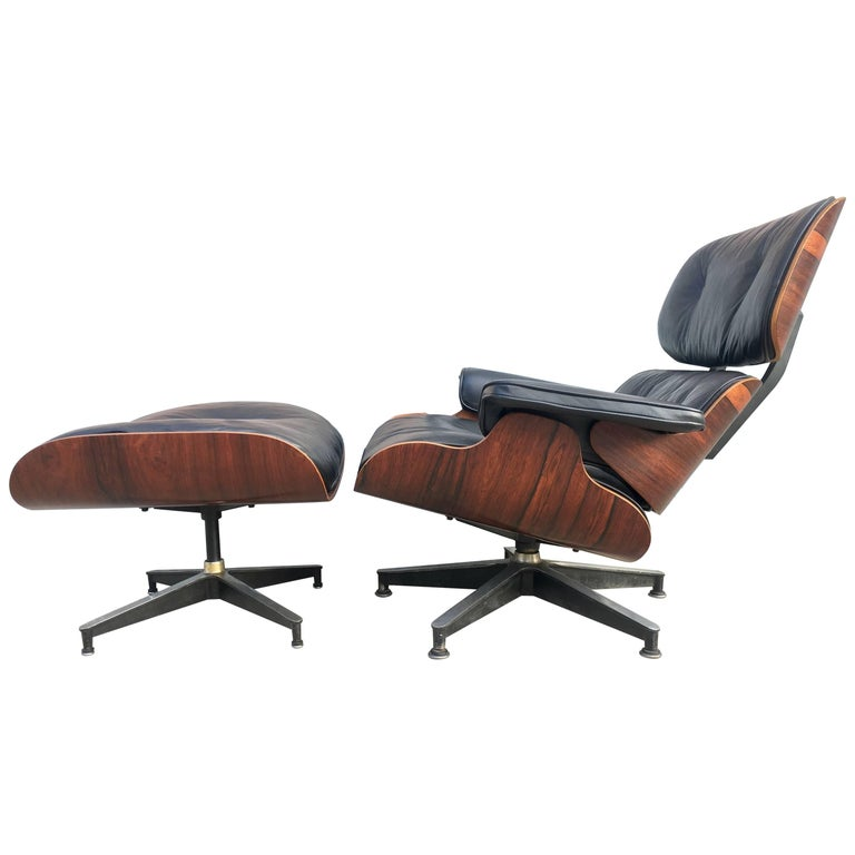 Vintage Herman Miller Eames Lounge Chair and Ottoman For Sale at 1stdibs