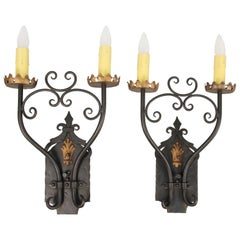 Large-Scale 1920s Wrought Iron Sconces