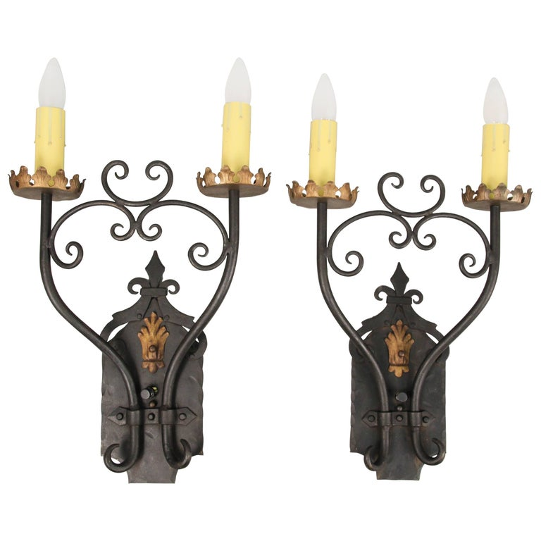 Large-Scale 1920s Wrought Iron Sconces For Sale