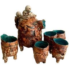 Hand Thrown Pottery Tea Set with Skulls
