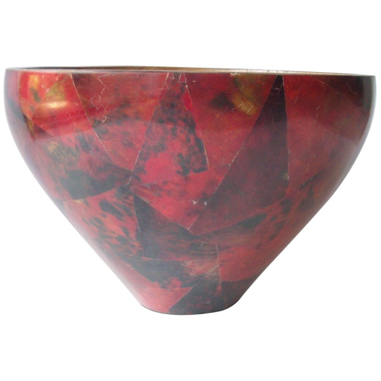R & Y Augousti Centrepiece, Parchment, Bowl, Red Black, Lacquered, Stamped For Sale