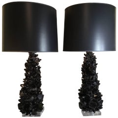 Pair of Spectacular Large Black Quartz Crystal Table Lamps