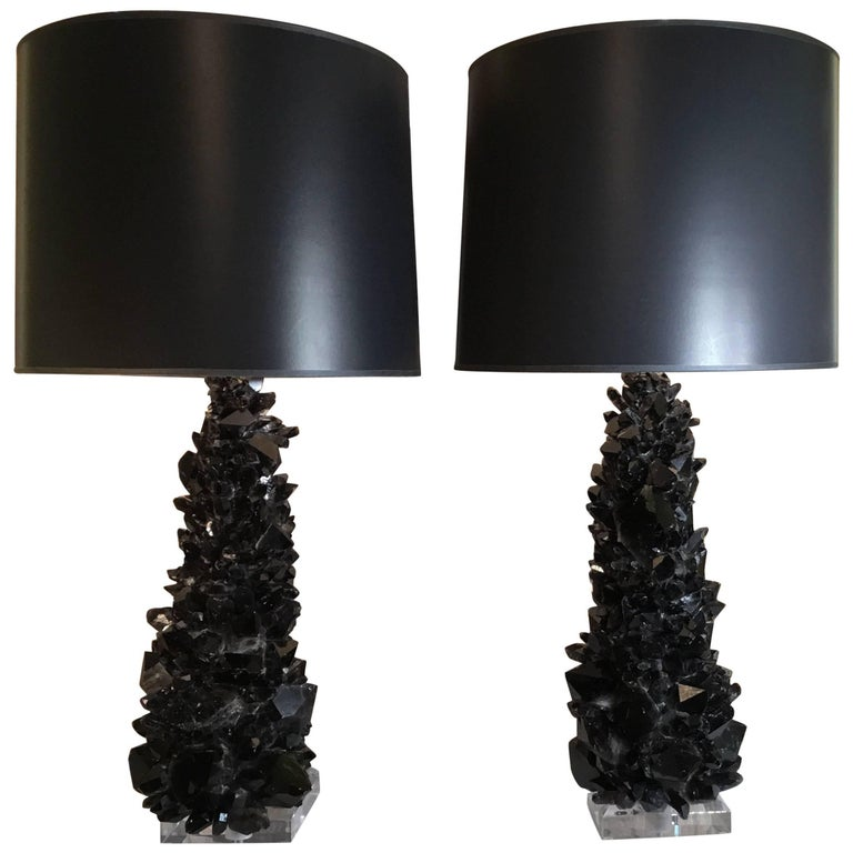 Pair of Spectacular Large Black Quartz Crystal Table Lamps For Sale