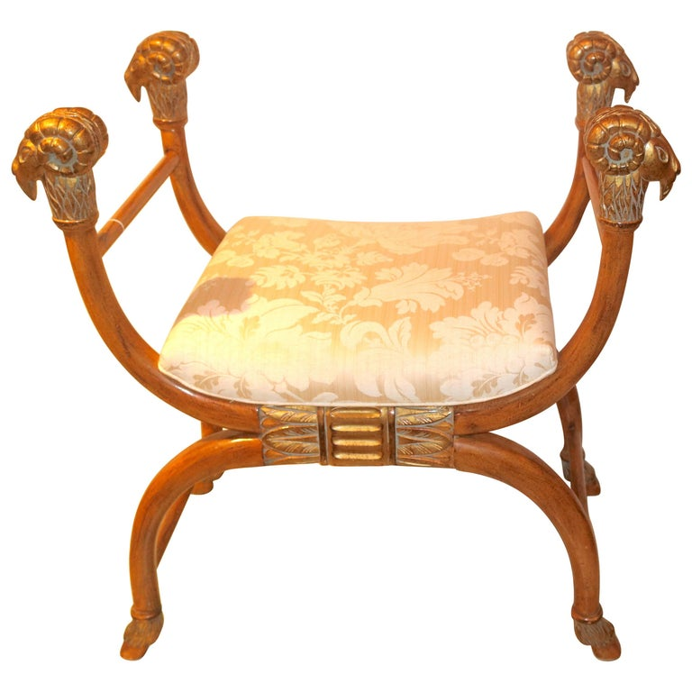 Stunning Rams Head Wood Carved Gilt Bench, Egyptian Influence Design