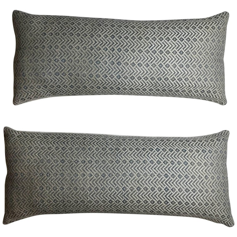Pair of Geometric Motif Pillows For Sale