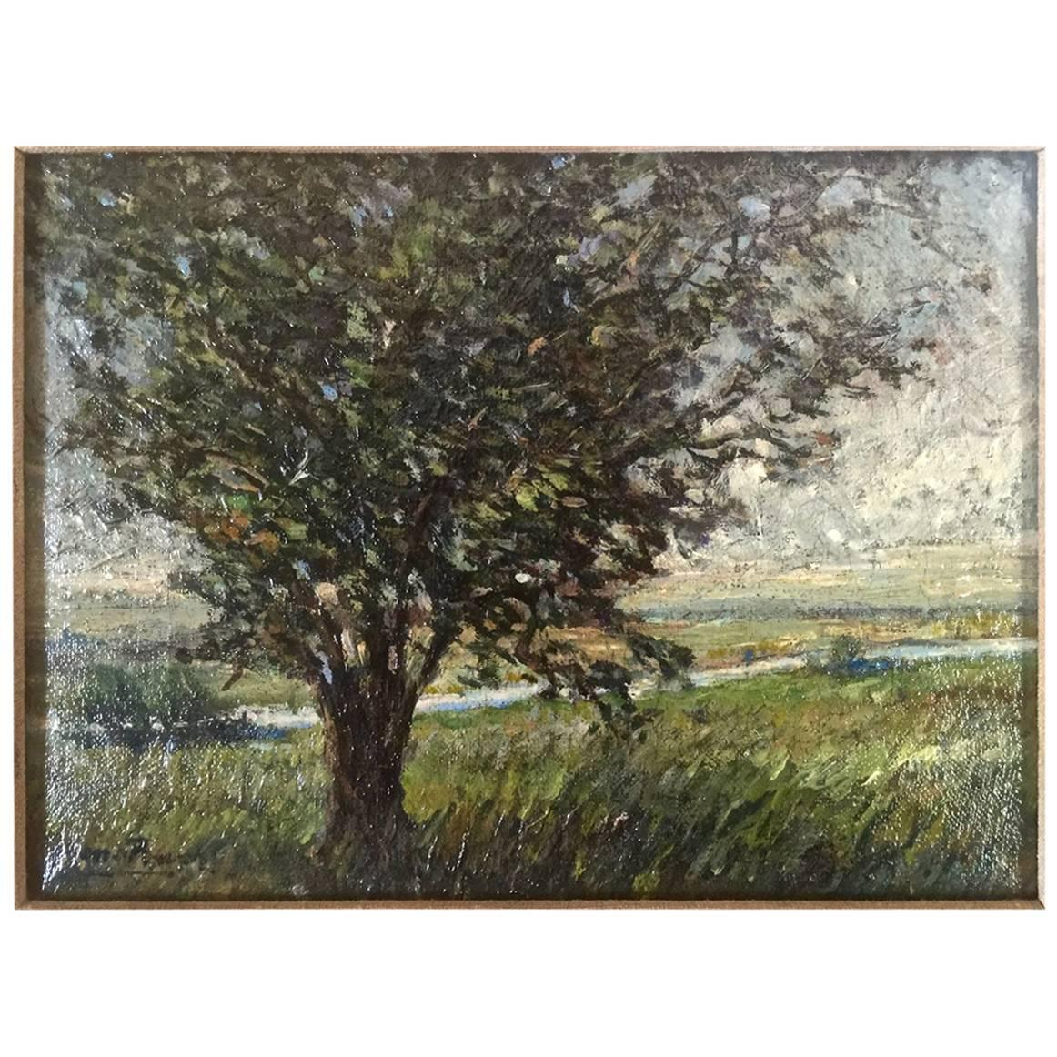 Impressionist Landscape Plein Air Painting, Early 20th Century