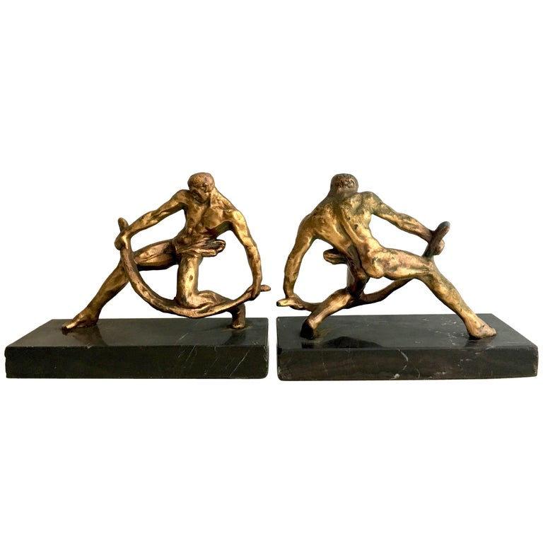 Pair of Gilt Sculptural Male Muscular Bookends