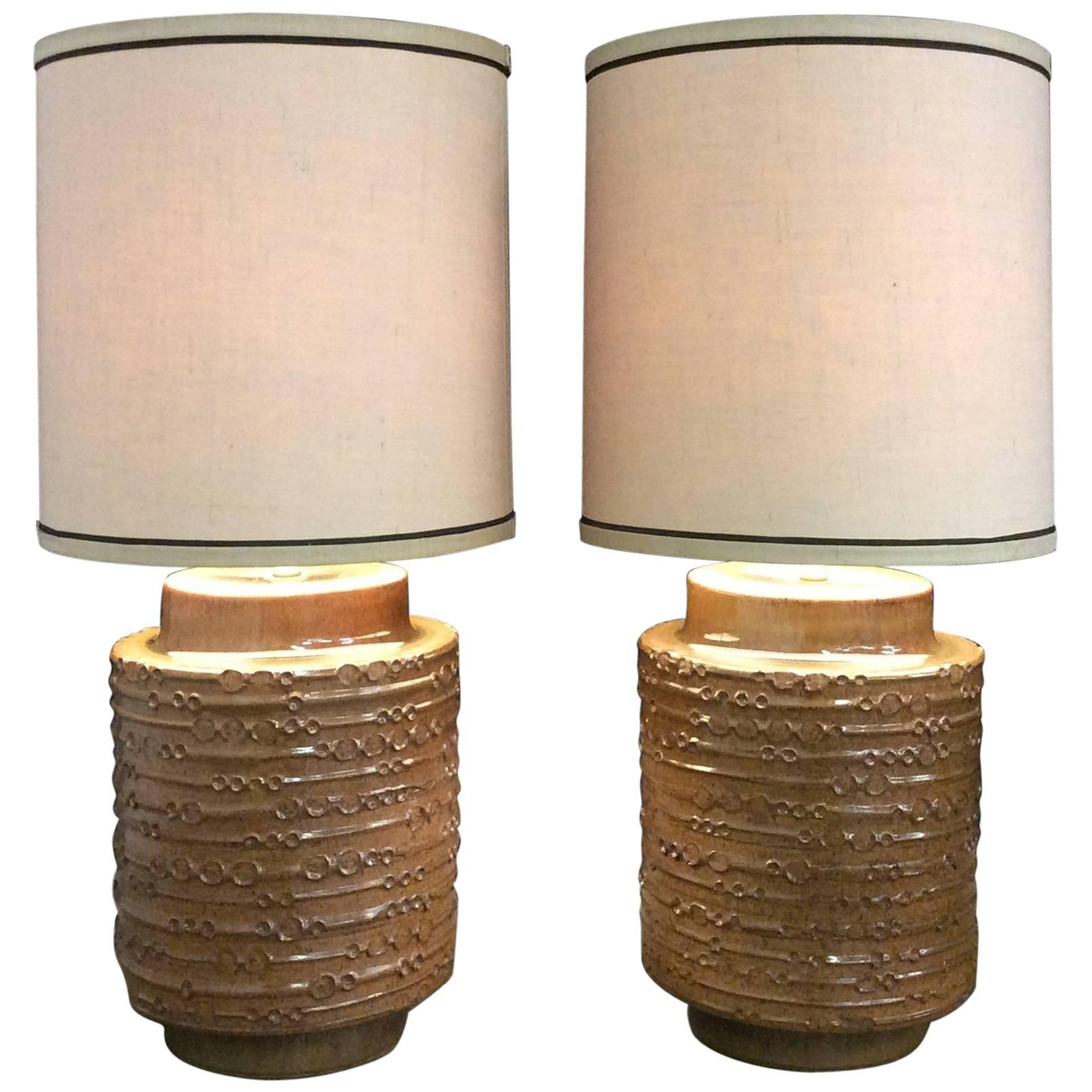 Charmant Two David Cressey Mid Century Modern Extra Large Ceramic Table Lamps For  Sale