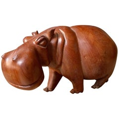 Solid Teak Hand-Carved Hippopotamus Sculpture