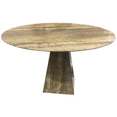 Sublime Italian Mid-Century Silver Grey Travertine Table