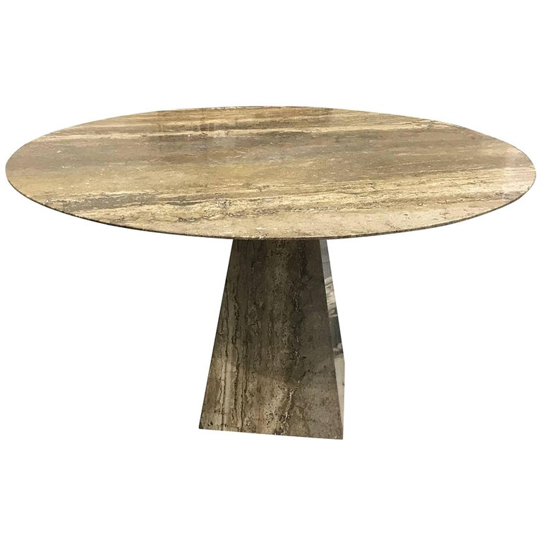 Sublime Italian Mid Century Silver Grey Travertine Table