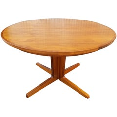 Round Teak Dining Table with Two Leaves