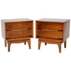 Pair of Walnut Mid-Century Nightstands from the Kent Coffey Forum Series