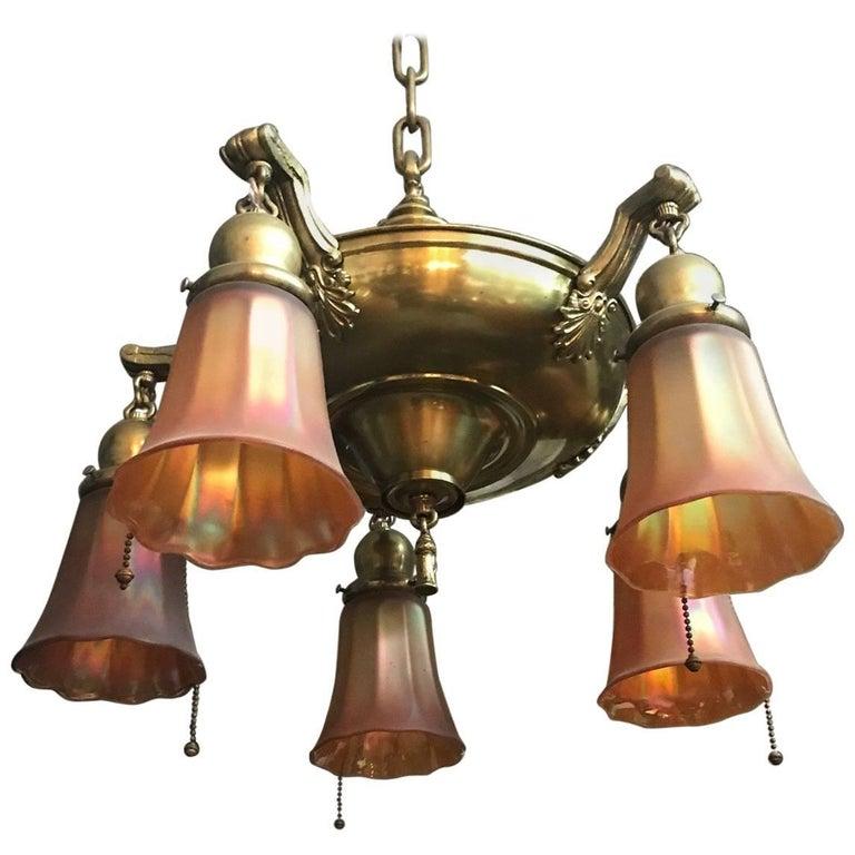 Art Glass and Brass Light Fixture