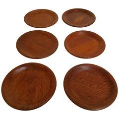 Six Vintage Hand-Turned Australian She-Oak Timber Dinner Plates, Adelaide, 1960s