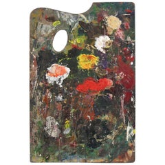 French Painter Wood Palette with Artist Handwritten Signature