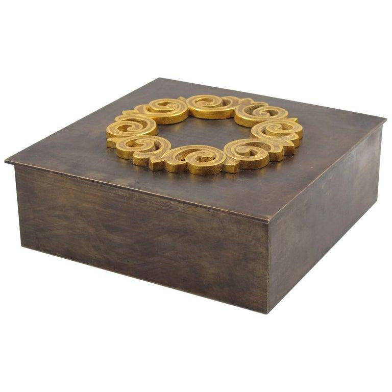Mid-Century Modernist Brass Decorative Lidded Box, France, circa 1940s