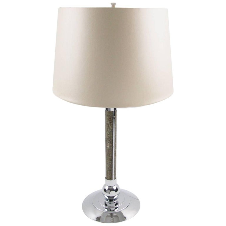 Art Deco Natural Shagreen and Chrome Modernist Table Lamp, circa 1930s