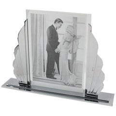 Large French Art Deco Modernist Chrome Picture Photo Frame, circa 1930s