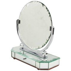 1940s French Venetian Style Vanity Mirror with Jewelry Case