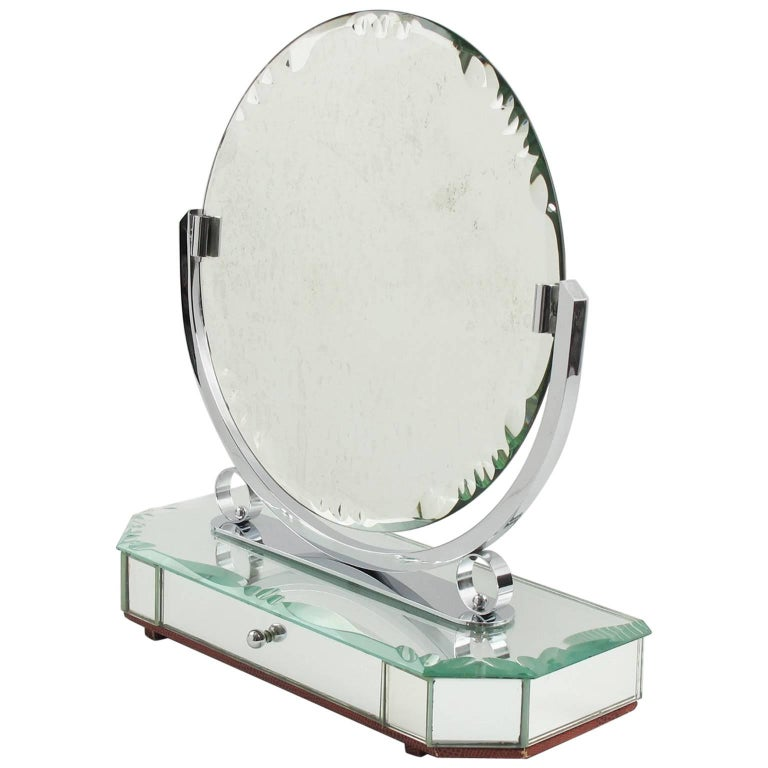 French Venetian Style Vanity Mirror with Jewelry Case, circa 1940s