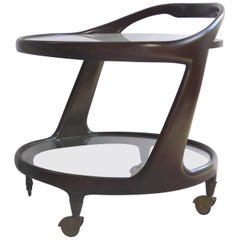 1955 Italian Modern Bentwood Rolling Bar Cart by Cesare Lacca