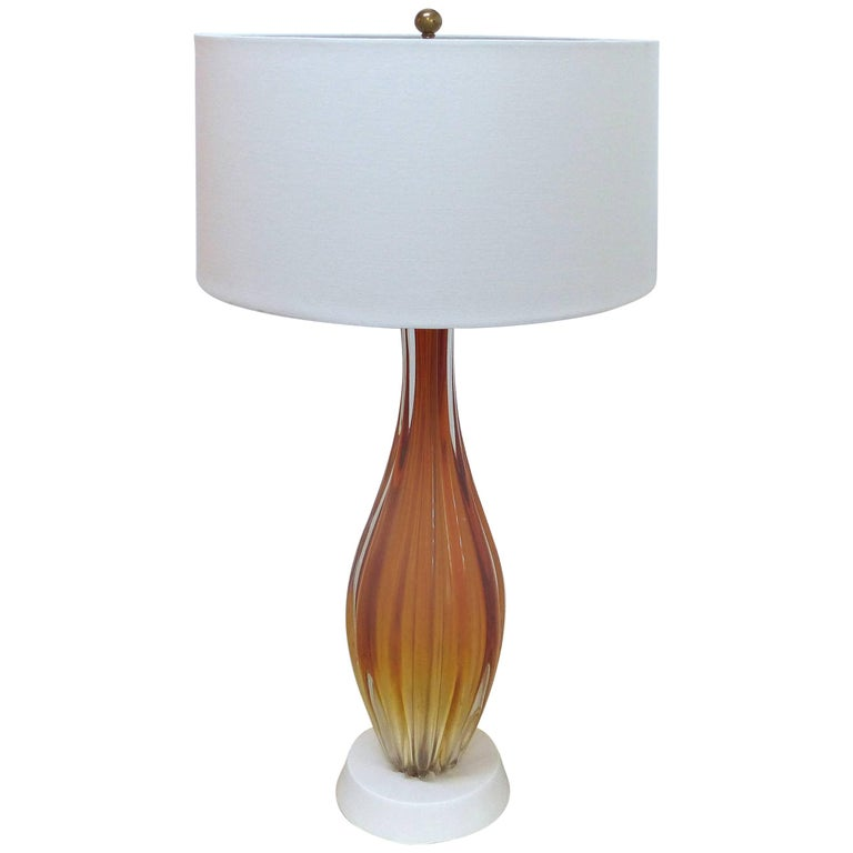 Orange Mid Century Modern Murano Glass Table Lamp For Sale