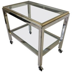 Chrome and Brass Bar Cart by Renato Zevi