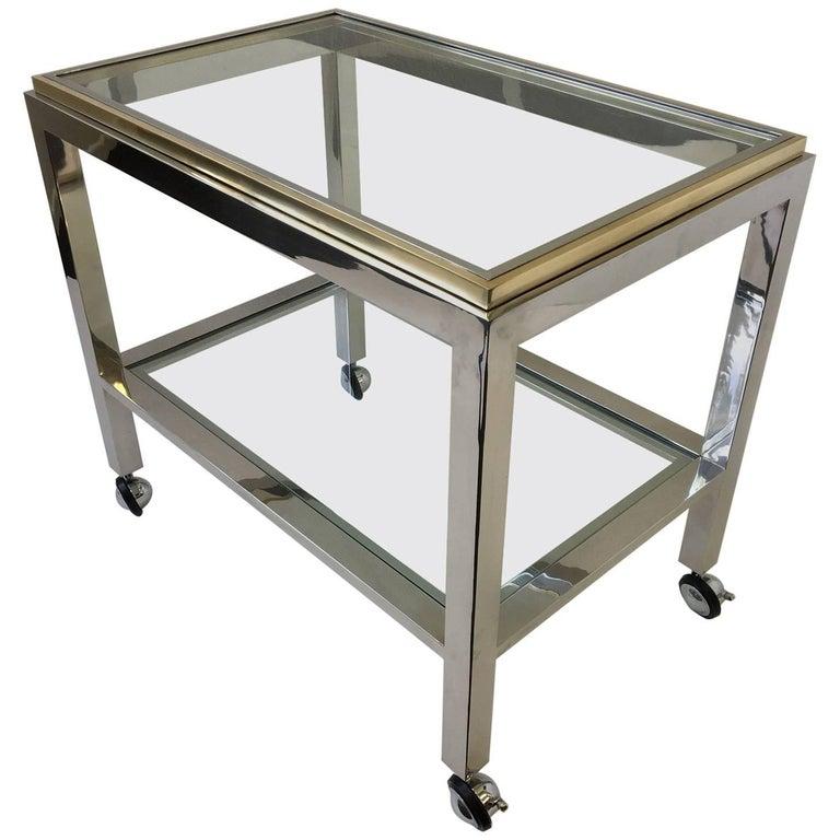 Chrome and Brass Bar Cart by Renato Zevi
