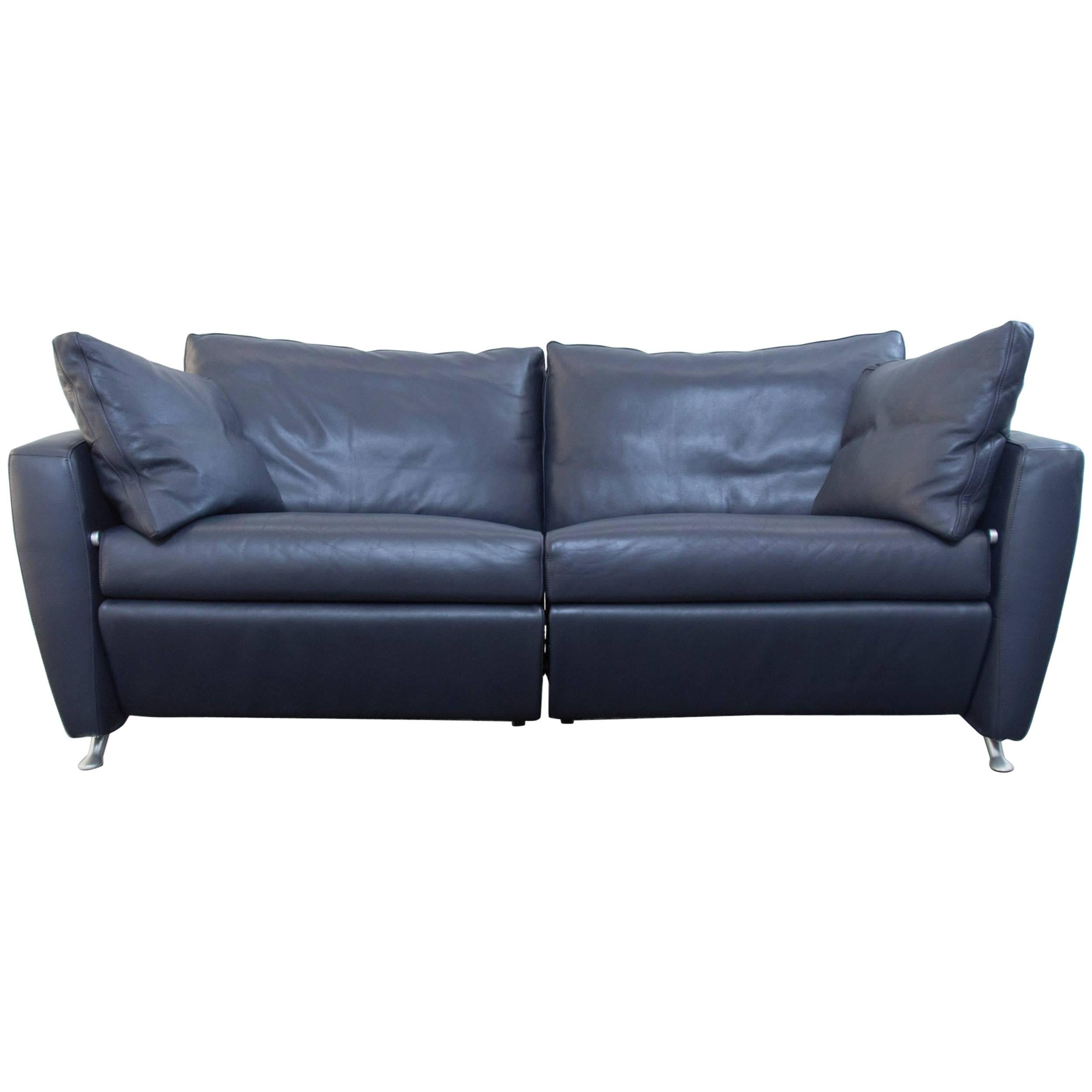 Fsm Designer Sofa Leather Blue Two Seat Couch Relax Function Modern