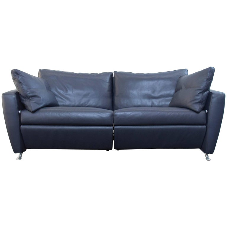 Fsm Designer Sofa Leather Blue Two Seat Couch Relax Function Modern At 1stdibs